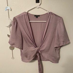 Light purple silk wrap top